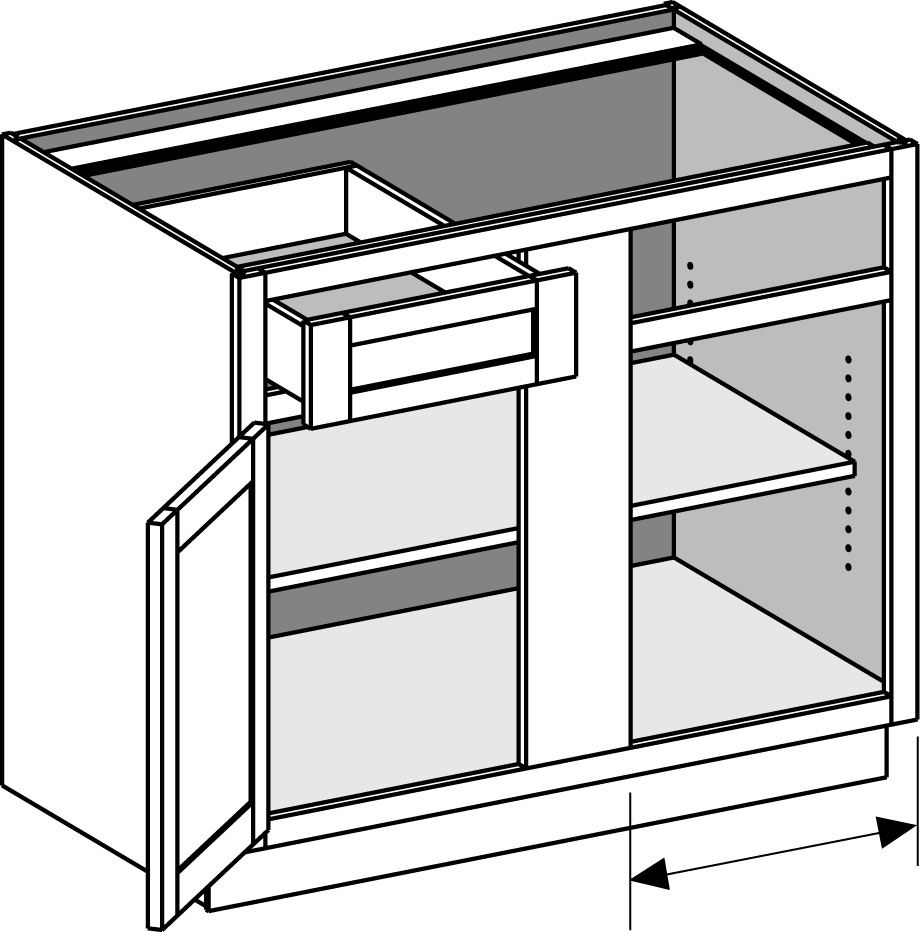 Kitchen Base Cabinet Dimensions: Base Blind Corner Cabinet