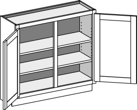 Base Full Door Cabinet – Wall Depth, Double Doors
