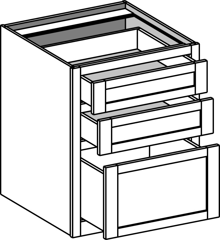 Desk Base 3 Drawer