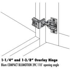 Blum 1-1/4″ and 1-3/8″ Full Overlay Soft Close Hinge