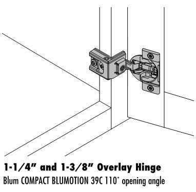 Blum 1 1/4u2033 And 1 3/8u2033 Full Overlay Soft Close Hinge