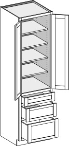 Utility 3 Drawer with Butt Doors 2484-2496