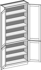Tall Cabinet – Shallow, Reverse w/Butt Doors