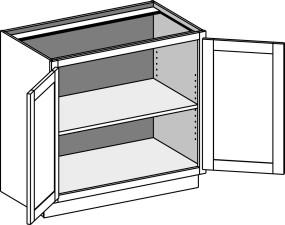 Vanity Base Full Door w/Butt Doors