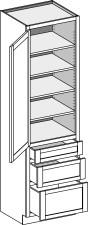 Vanity Linen 3 Drawer Base Height, Single Door