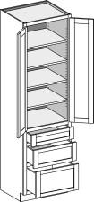Vanity Linen 3 Drawer Base Height, Butt Doors