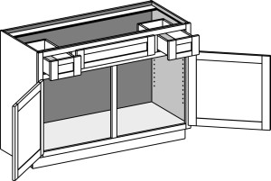 Vanity Sink Cabinet w/Double Doors & Utility Drawers