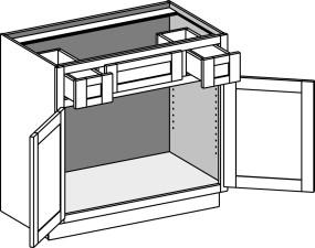 Vanity Sink Cabinet w/Butt Doors & Utility Drawers