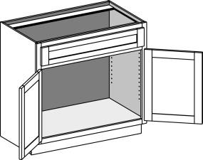Vanity Sink Cabinet w/Butt Doors