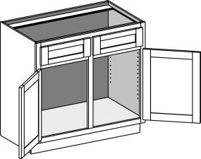 Vanity Sink Cabinet w/Double Doors & Drawer Fronts