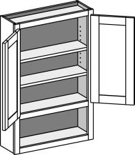 Vanity Wall Cabinet w/Shelf, Butt Doors