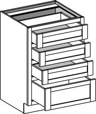 Vanity Drawer Base w/4 Drawers
