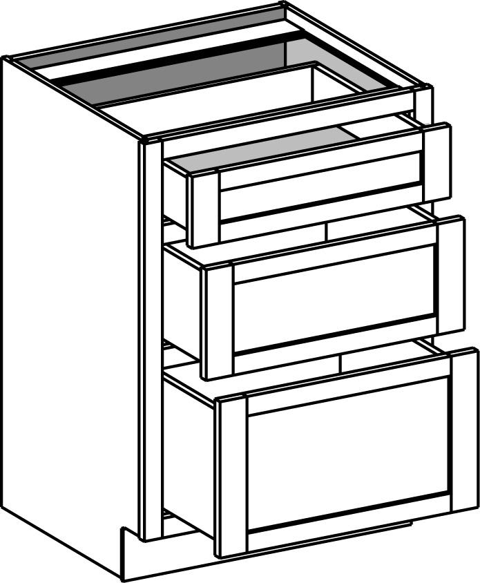 Vanity Drawer Base W 3 Drawers