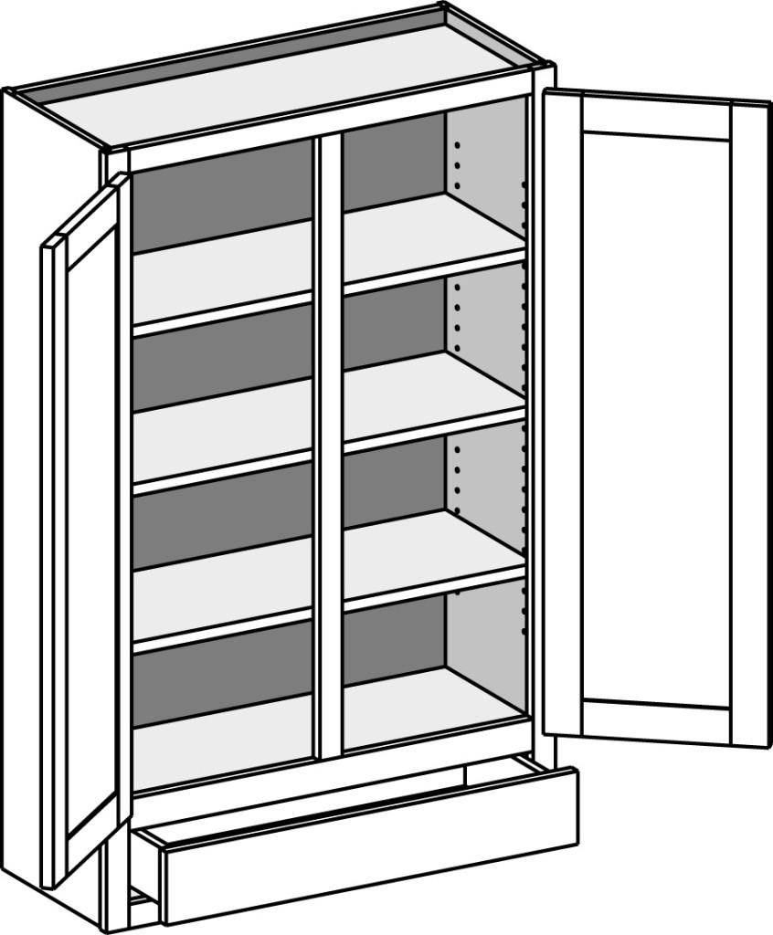 Model Prepac Furniture Coal Harbor Espresso 3Door 3Shelf Office Cabinet