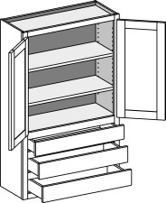 Wall Cabinet w/3 Drawers – Butt Doors