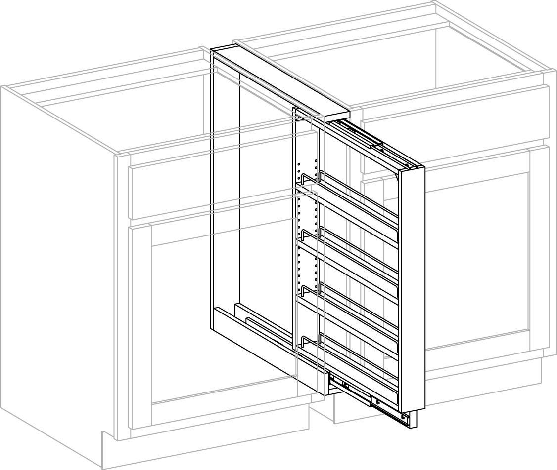 Pull Out Storage Units Hide Behind Filler Cabinet Joint