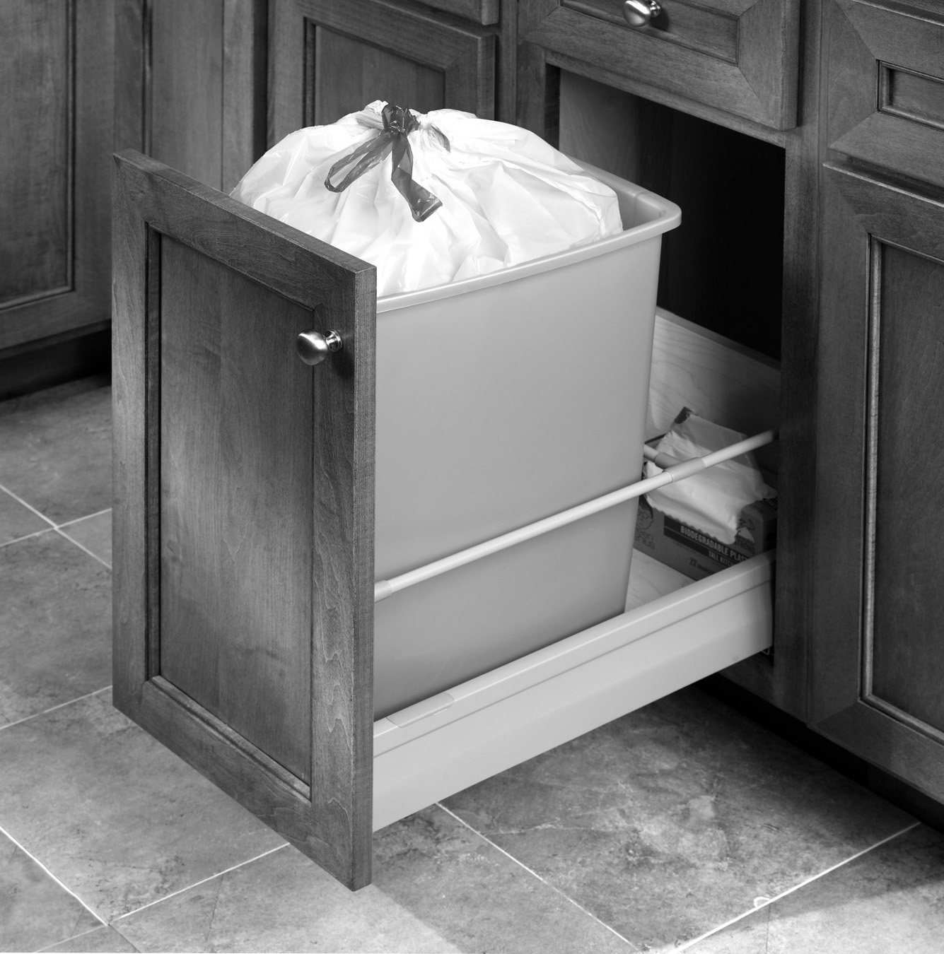 kitchen can cabinet decoration with trash drawer under inside sliding bin waste slide counter garbage out lid pull