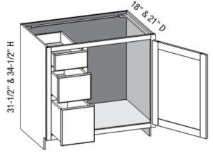 Vanity Combo Full Door 3 Drawer Left