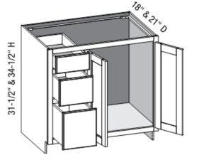 Vanity Combo Full Door 3 Drawer Left, Butt doors