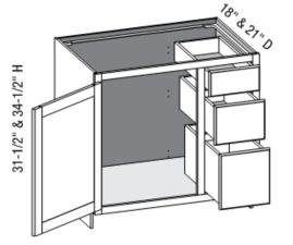 Vanity Combo Full Door 3 Drawer Right