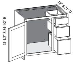 Vanity Combo Full Door 3 Drawer Right