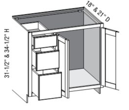Vanity Combo Full Door 3 Drawer Right w/Butt Doors