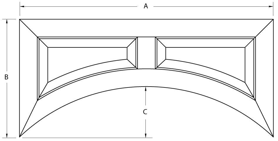 Custom Raised Panel Arched Valance Cabinet Joint