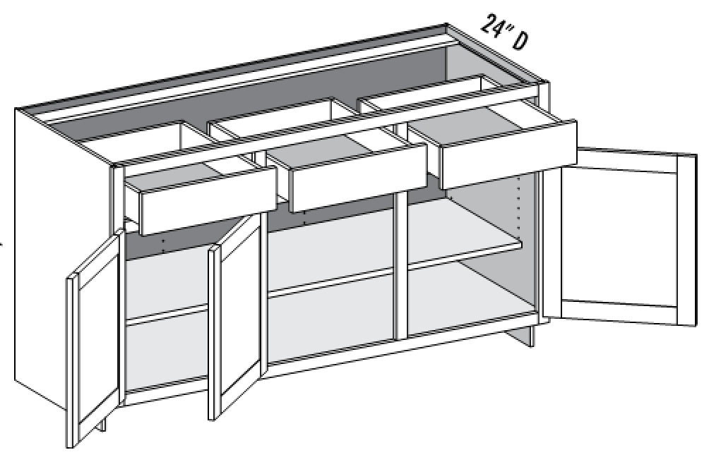 Base Cabinet U2013 3 Door/3 Drawer