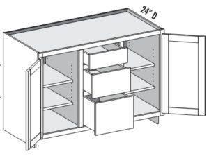 Media Cabinet, 2 Doors & 3 Drawer center