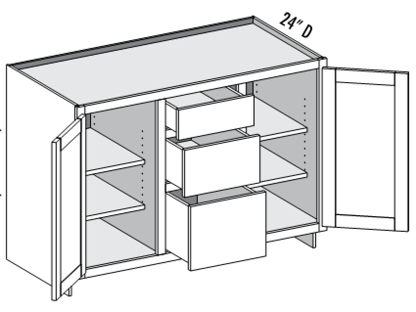 Media Cabinet, 2 Doors U0026 3 Drawer Center