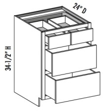 Base 4 Drawer w/ Split Top Drawers, Equal Height Bottom Drawers