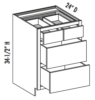 Base 4 Drawer W Split Top Drawers Equal Height Bottom Cabinet