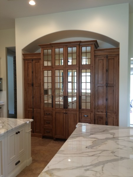 Sandre Hutch - Flush inset cabinets with CRP101728 Applied Molding door in Hard Maple with Colonial Stain