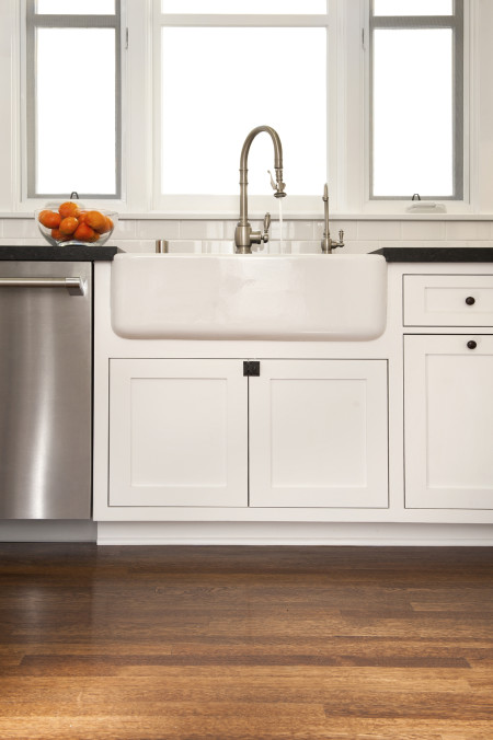 Similar to Stockbridge door (shaker collection) with Frosty White paint. Note: Farm sink cut outs are done ON SITE by customer.