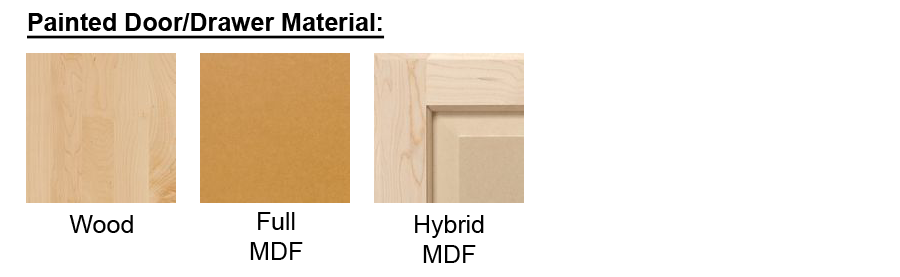 (note: If Hybrid MDF Is Selected As Your Unfinished Door/Drawer Material,  Then Paint Grade Hard Maple Will Be Automatically Selected For Your Cabinet  Front ...