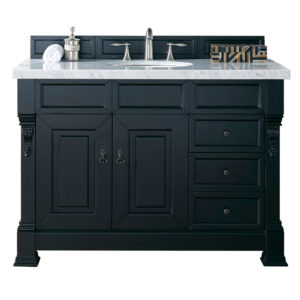 """Brookfield 48"""" Antique Black Single Vanity w/ Drawers with 4 CM Carrara White Marble Top"""