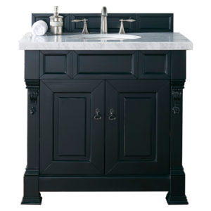 """Brookfield 36"""" Antique Black Single Vanity with 4 CM Carrara White Marble Top"""