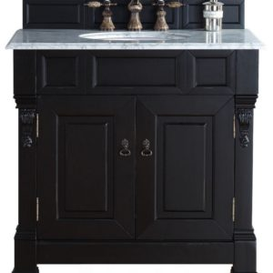 """Brookfield 36"""" Antique Black Single Vanity with 2 CM Carrara White Marble Top"""