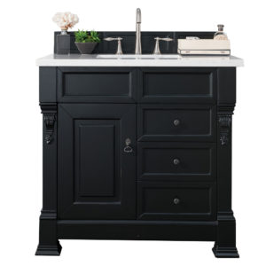 "Brookfield 36"" Antique Black Single Vanity w/ Drawers with 3 CM Arctic Fall Solid Surface Top"