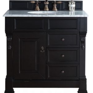 "Brookfield 36"" Antique Black Single Vanity w/ Drawers with 2 CM Carrara White Marble Top"