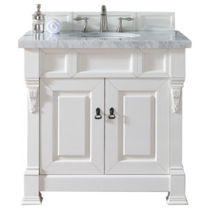 "Brookfield 36"" Cottage White Single Vanity with 4 CM Carrara White Marble Top"