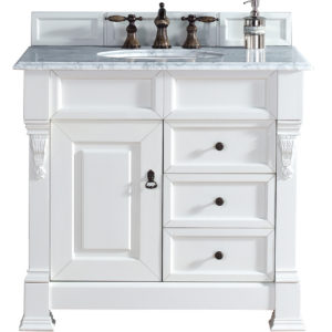 "Brookfield 36"" Cottage White Single Vanity w/ Drawers with 2 CM Carrara White Marble Top"