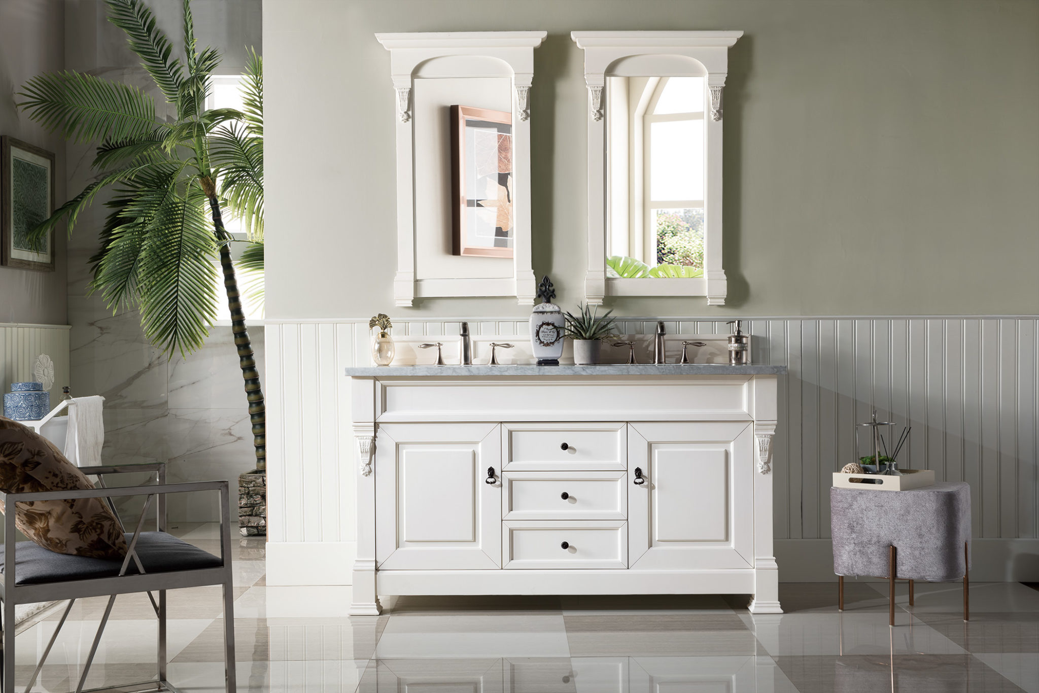 Double Vanity.Brookfield 60 Cottage White Double Vanity With 3 Cm Carrara Marble Top