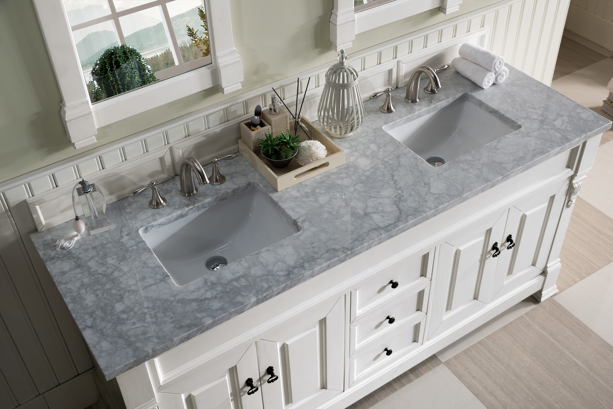 Brookfield 72 Cottage White Double Vanity With 3 Cm Carrara Marble