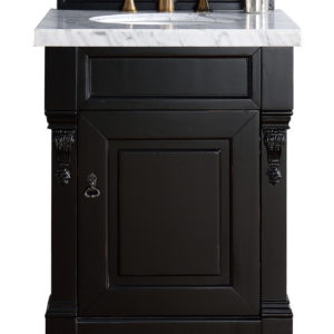 "Brookfield 26"" Antique Black Single Vanity with 4 CM Carrara White Marble Top"