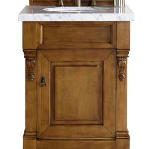 "Brookfield 26"" Country Oak Single Vanity with 4 CM Carrara White Marble Top"