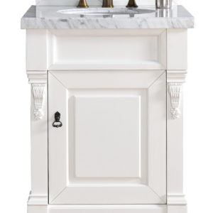 "Brookfield 26"" Cottage White Single Vanity with 4 CM Carrara White Marble Top"