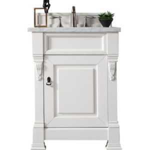 "Brookfield 26"" Cottage White Single Vanity with 3 CM Carrara Marble Top"