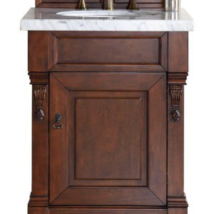 "Brookfield 26"" Warm Cherry Single Vanity with 4 CM Carrara White Marble Top"