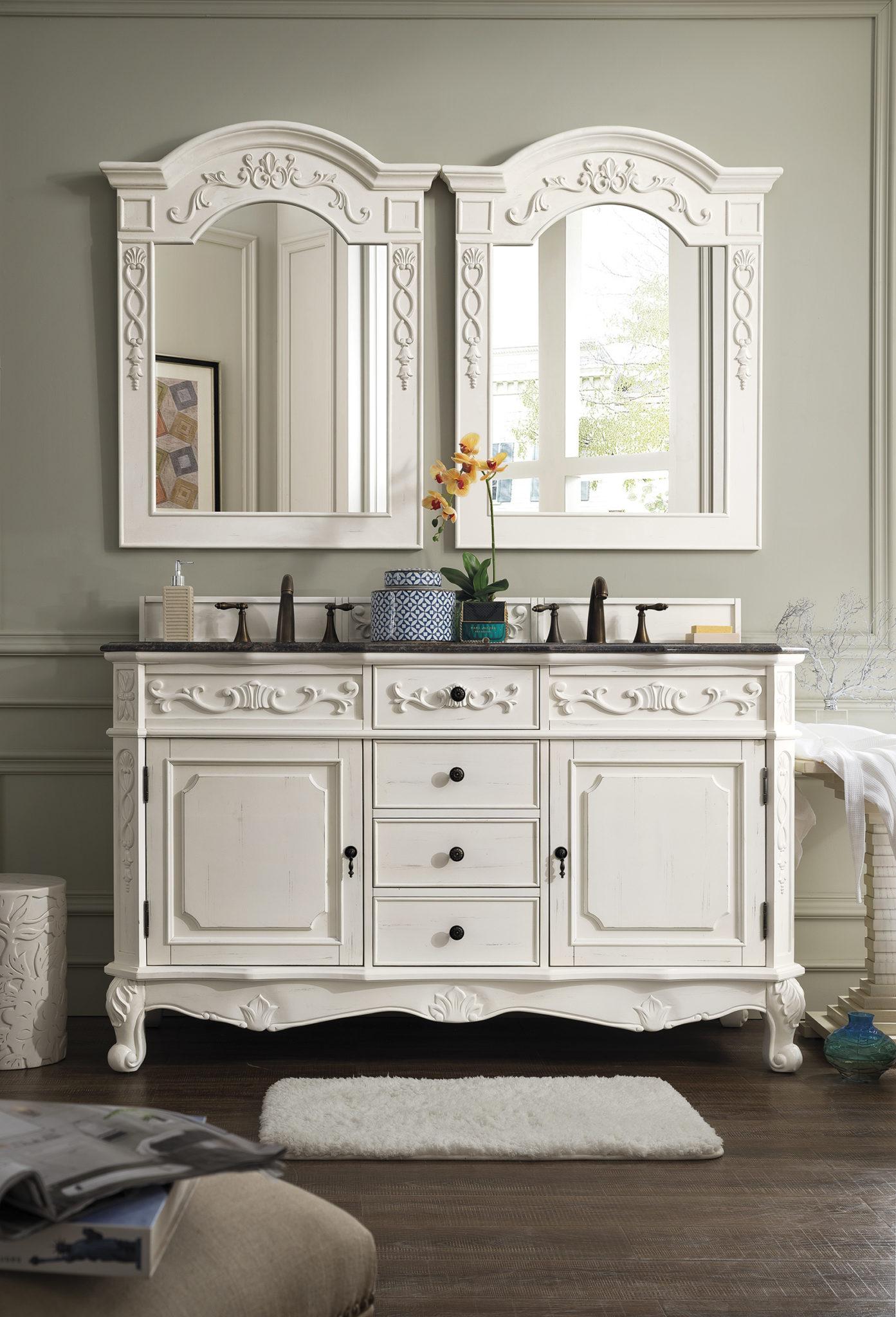 Costa Blanca 60 Double Granite Top Vanity Antique White